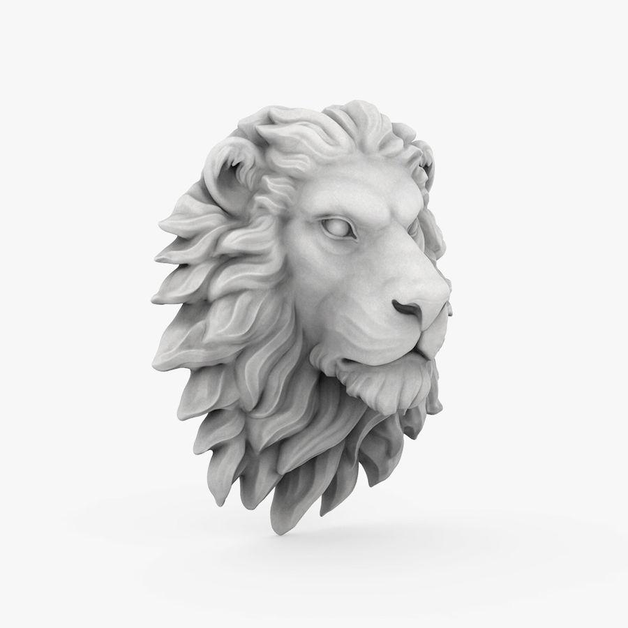 lion head sculpture 01 royalty-free 3d model - Preview no. 6
