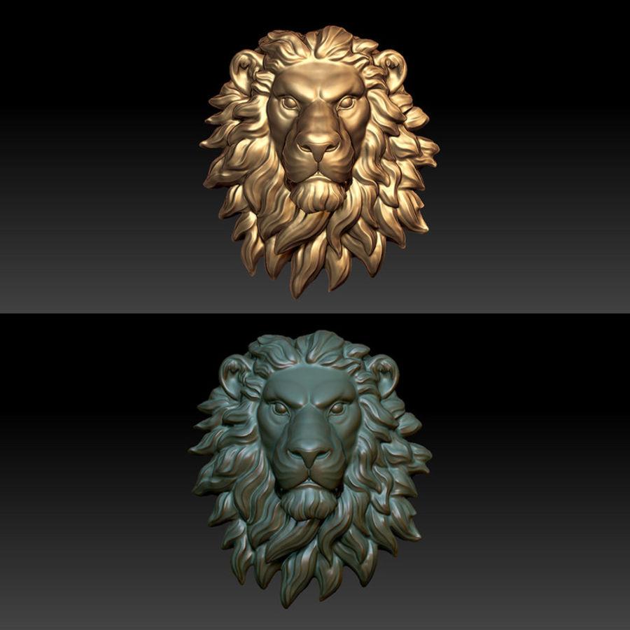 lion head sculpture 01 royalty-free 3d model - Preview no. 8