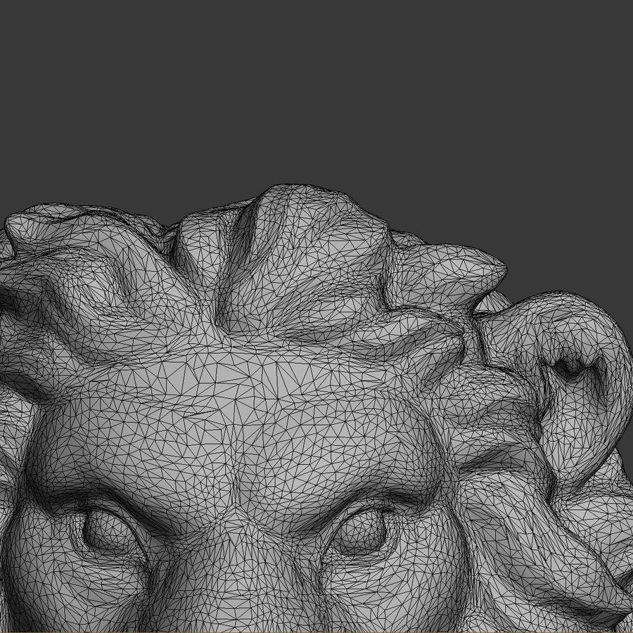 lion head sculpture 01 royalty-free 3d model - Preview no. 10