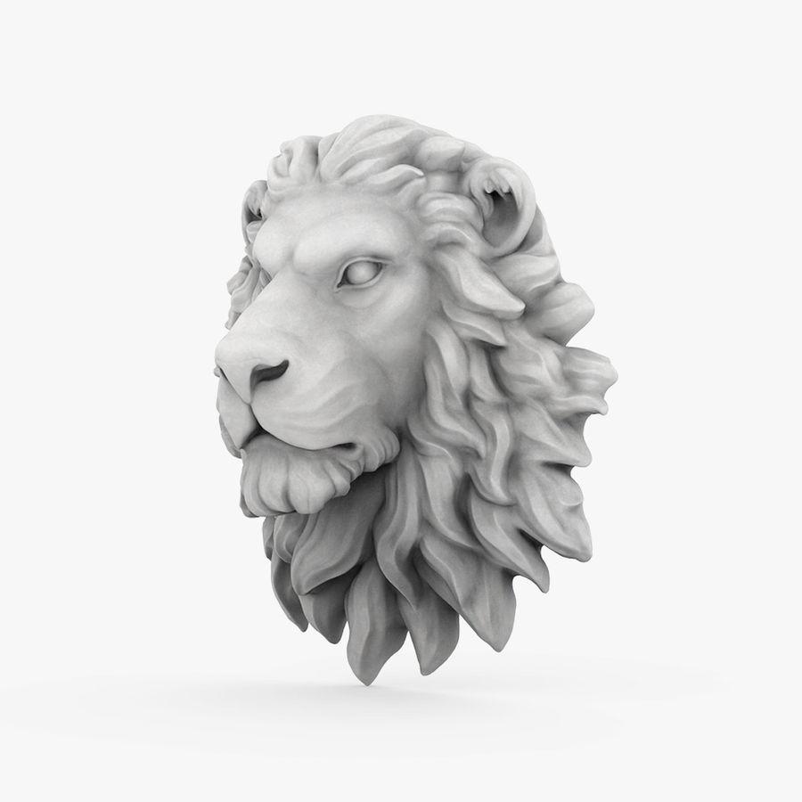 lion head sculpture 01 royalty-free 3d model - Preview no. 2