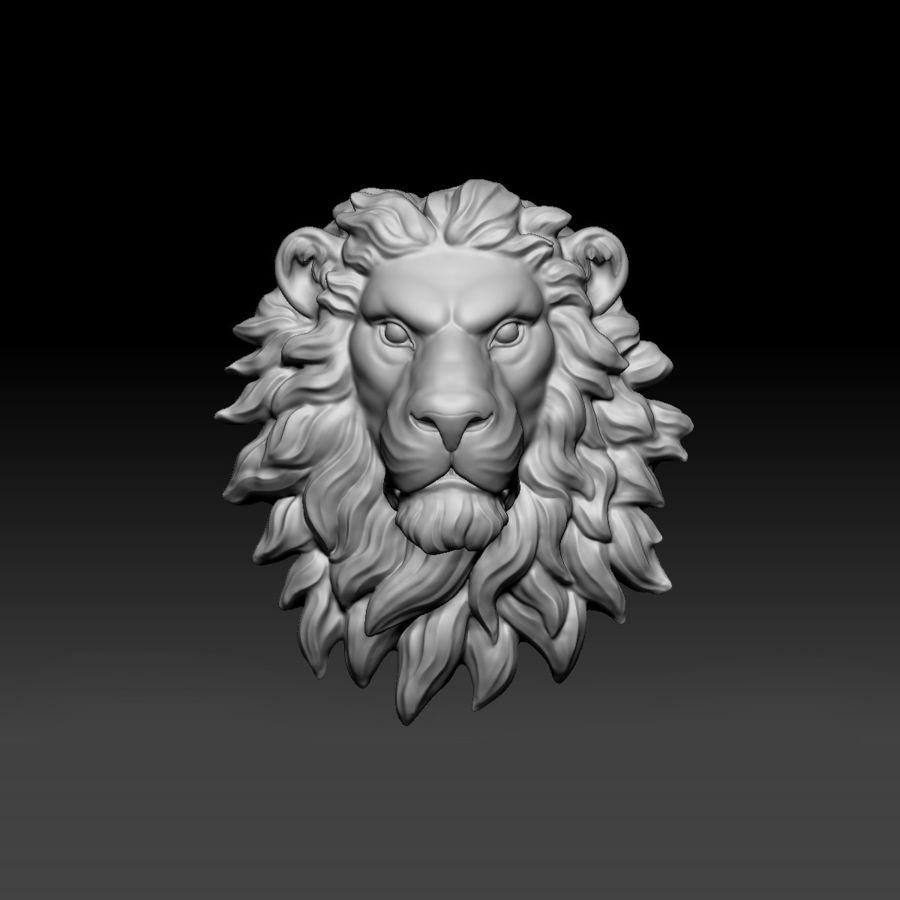 lion head sculpture 01 royalty-free 3d model - Preview no. 7