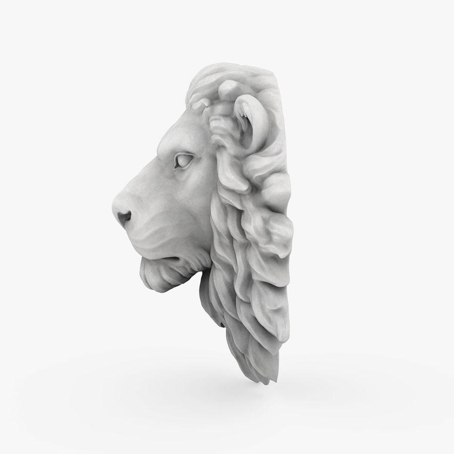 lion head sculpture 01 royalty-free 3d model - Preview no. 3
