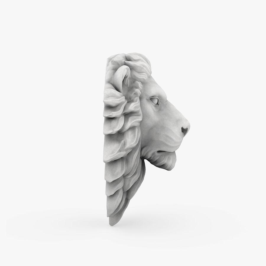 lion head sculpture 01 royalty-free 3d model - Preview no. 5