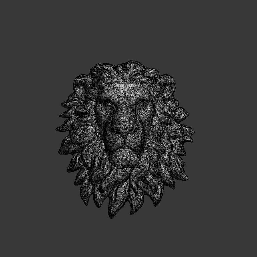 lion head sculpture 01 royalty-free 3d model - Preview no. 9