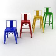 Metal Stools With Back Collection 3d model