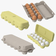 Egg Containers Open and Closed 3d model