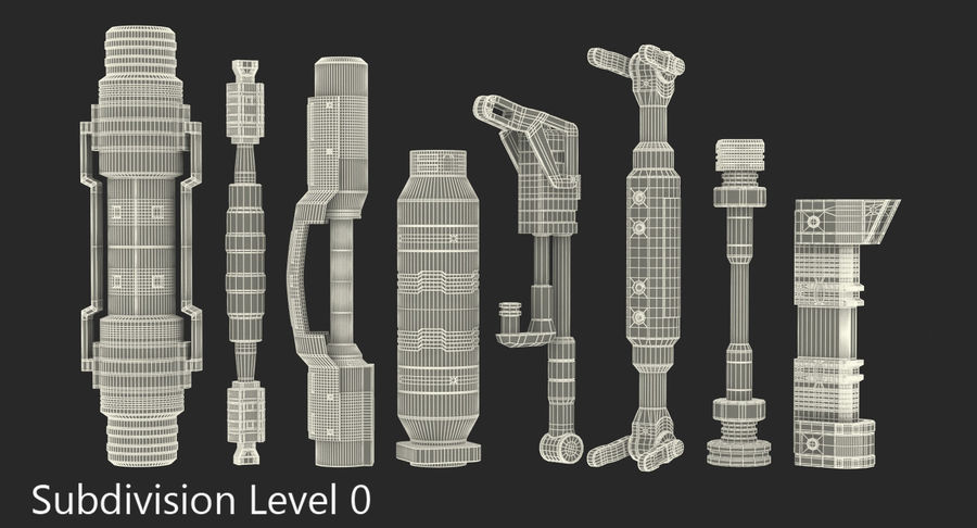Гидравлические цилиндры с анодированным поршнем 3D-модель Sci-Fi royalty-free 3d model - Preview no. 31