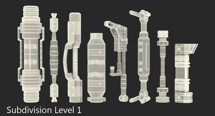 Гидравлические цилиндры с анодированным поршнем 3D-модель Sci-Fi royalty-free 3d model - Preview no. 32