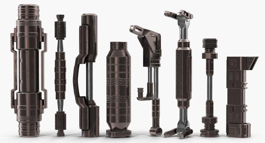 Гидравлические цилиндры с анодированным поршнем 3D-модель Sci-Fi royalty-free 3d model - Preview no. 5