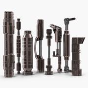 Anodized Ram Hydraulic Cylinders Set Sci-Fi 3D Model 3d model