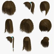 Polygon Hair Collection 4 modelo 3d