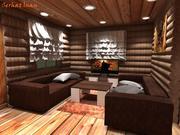 Wnętrze domu drewnianego 3d model