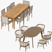 Mesas de jantar e cadeiras de pátio 3d model