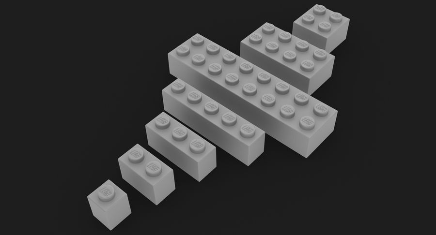 Lego Bricks Set royalty-free 3d model - Preview no. 23