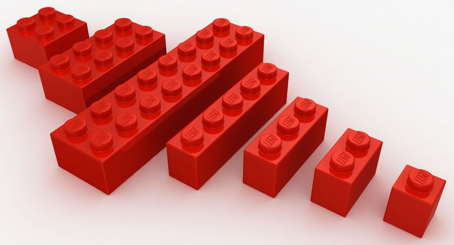 Lego Bricks Set royalty-free 3d model - Preview no. 10