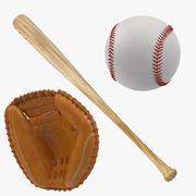 Kij baseballowy i rękawica łapacza 3d model