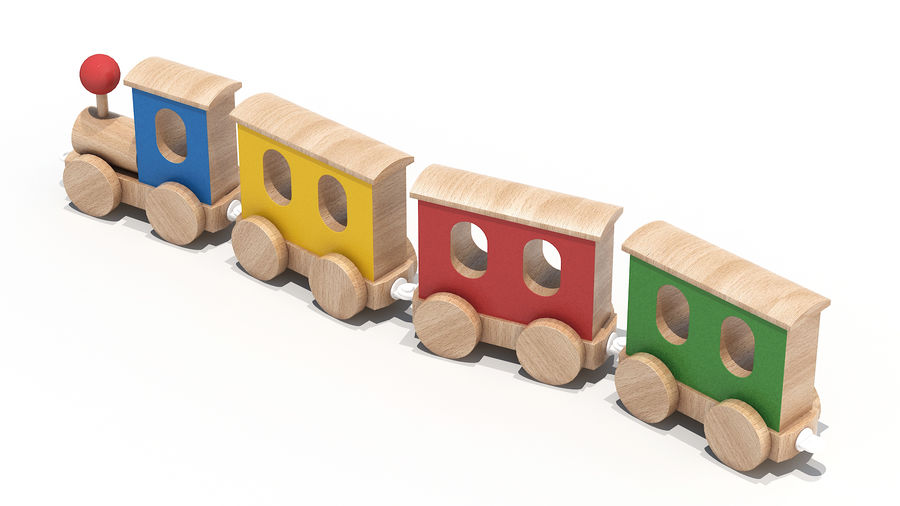 おもちゃの機関車 royalty-free 3d model - Preview no. 3