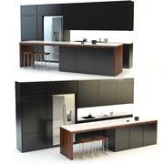 Keuken zwart 3d model