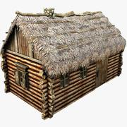 Casa de palha de madeira 3d model