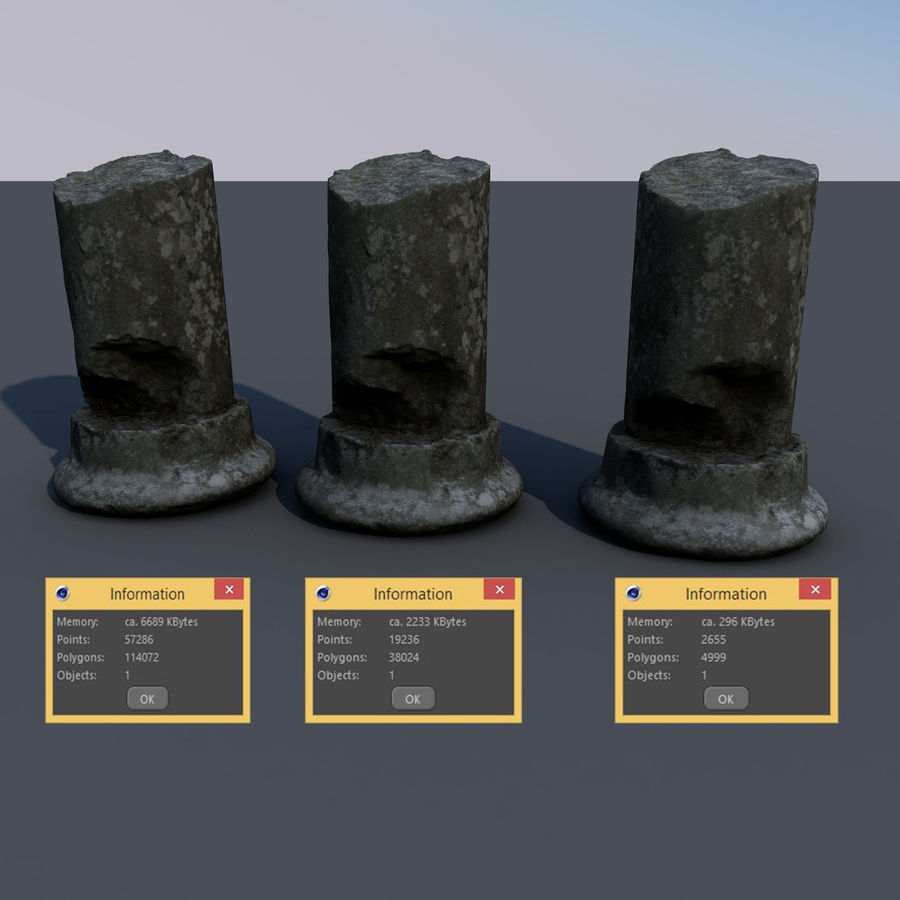 ancient pillar scan royalty-free 3d model - Preview no. 2