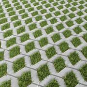 草と舗装スラブ 3d model