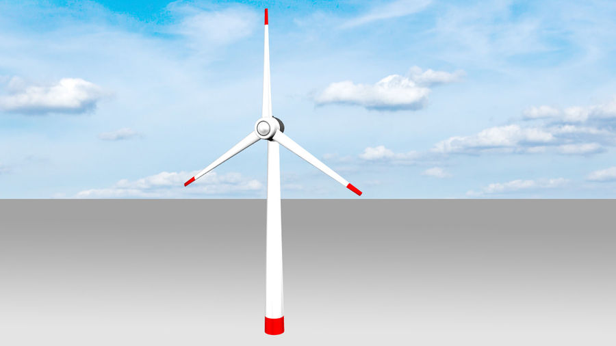 Clean energy - Eolic turbine royalty-free 3d model - Preview no. 4