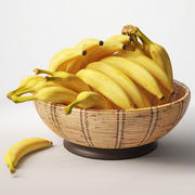 Bananas in basket 3d model