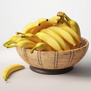 바구니에 바나나 3d model