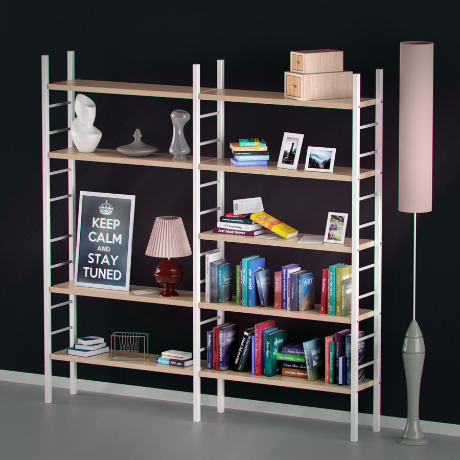 Bookshelf With Books And Decoration Objects 3d Model 23 Unknown Max Obj Fbx Free3d