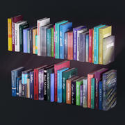 Bookshelf with books and decoration objects 3d model