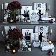 Ensemble de décoration de roses 3d model