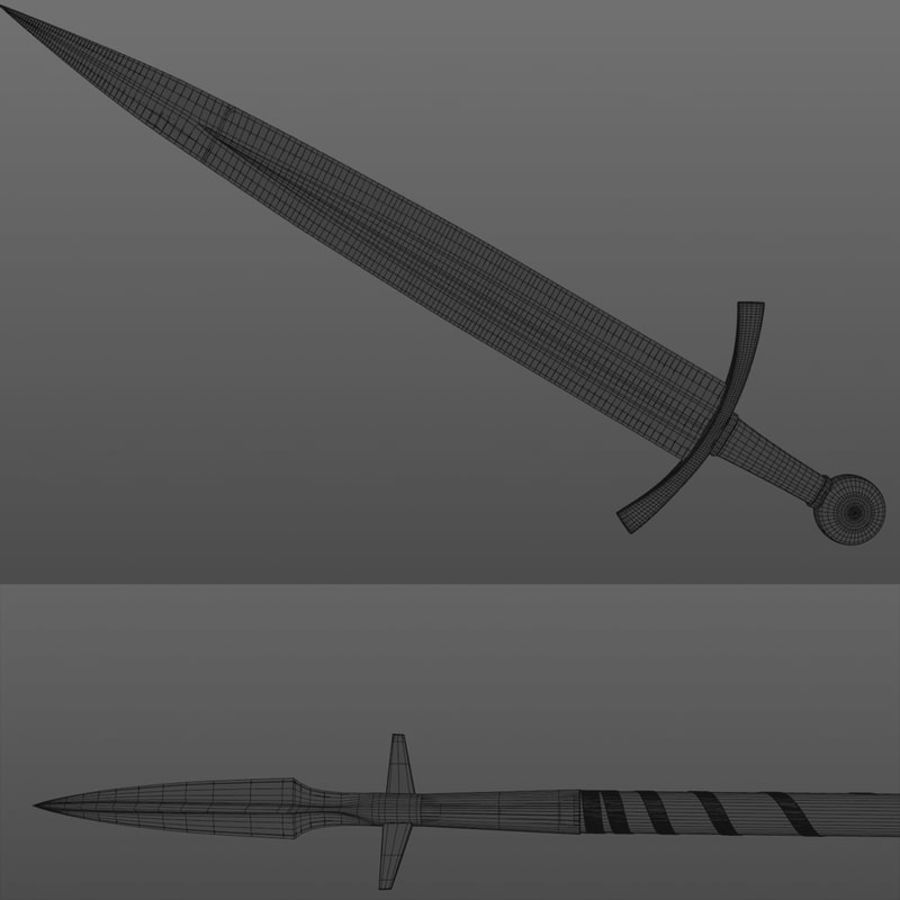 Battle medieval weaponset royalty-free 3d model - Preview no. 6