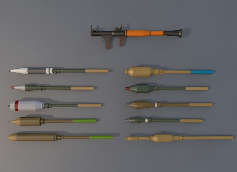 Low Poly RPG-7 royalty-free 3d model - Preview no. 2