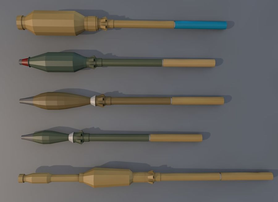 Low Poly RPG-7 royalty-free 3d model - Preview no. 7