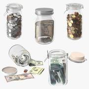 Bocaux en verre avec collection de devises 3d model