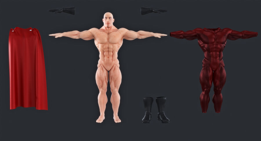 Super Hero royalty-free 3d model - Preview no. 11