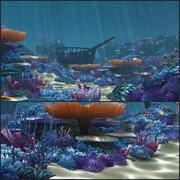 Dibujos animados de arrecifes de coral del suelo oceánico / Submarino / modelo 3d
