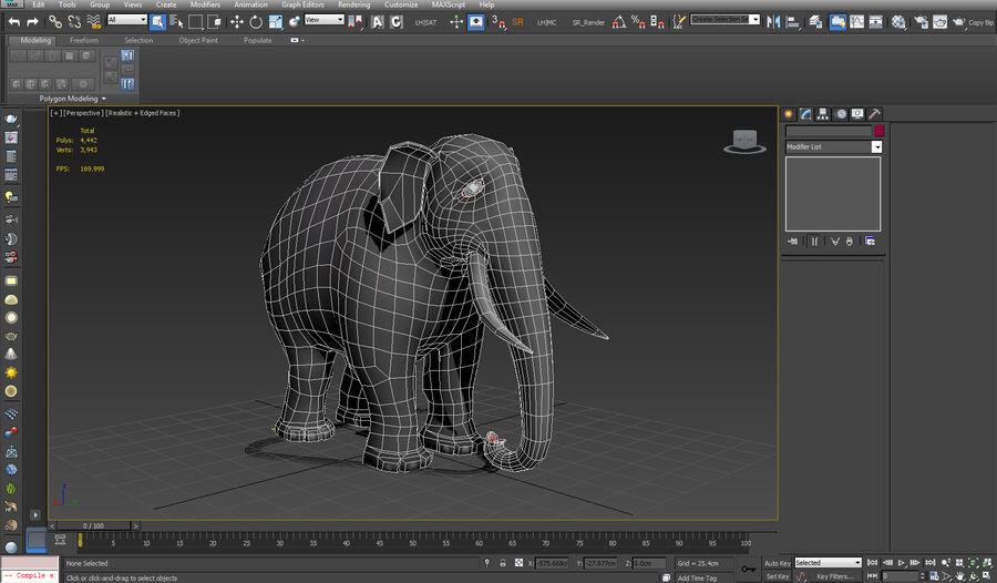 Éléphant de dessin animé royalty-free 3d model - Preview no. 2
