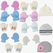 Newborn Caps and Mittens 3d model