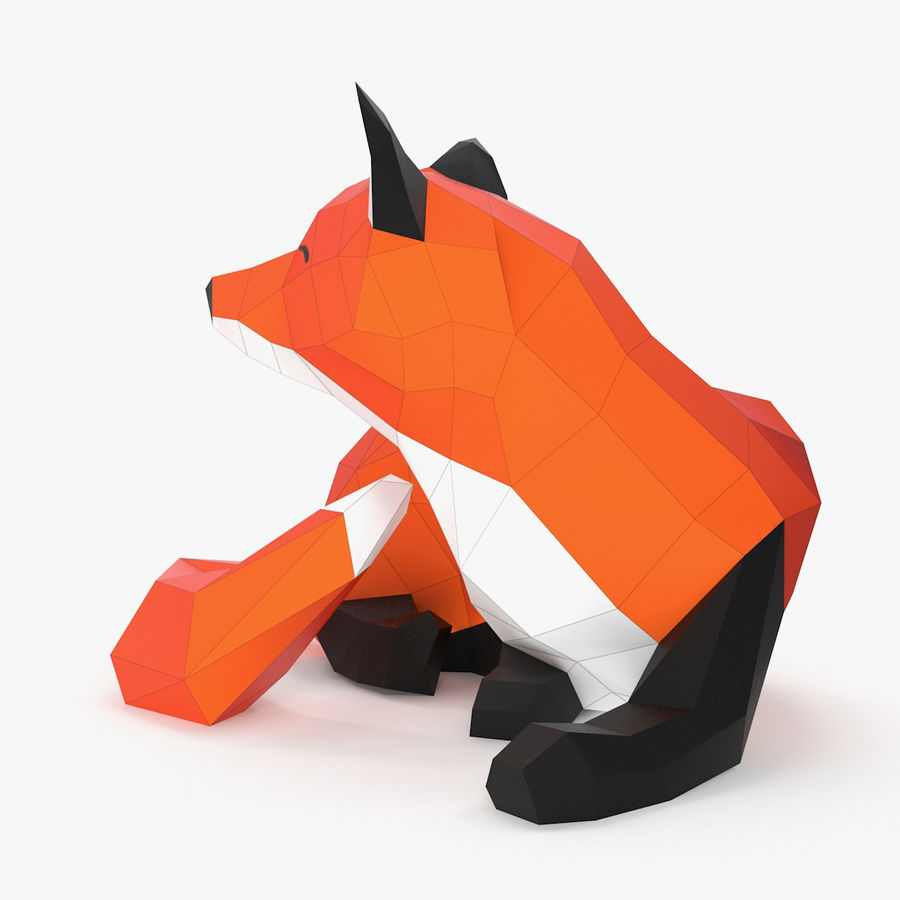 Fox Papercraft royalty-free 3d model - Preview no. 5