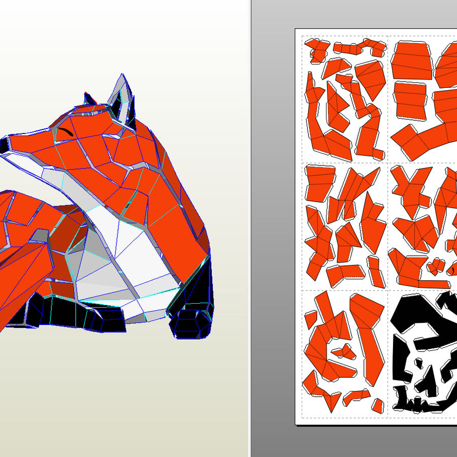 Fox Papercraft royalty-free 3d model - Preview no. 8