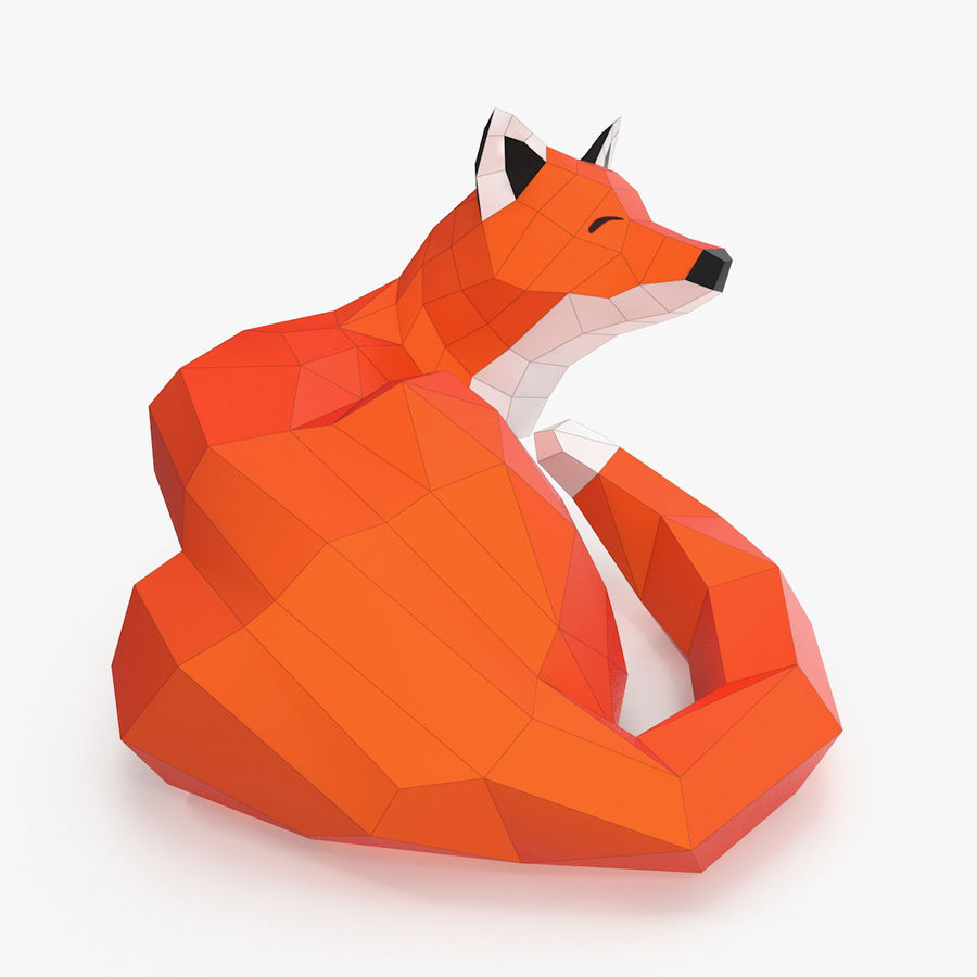Fox Papercraft royalty-free 3d model - Preview no. 3