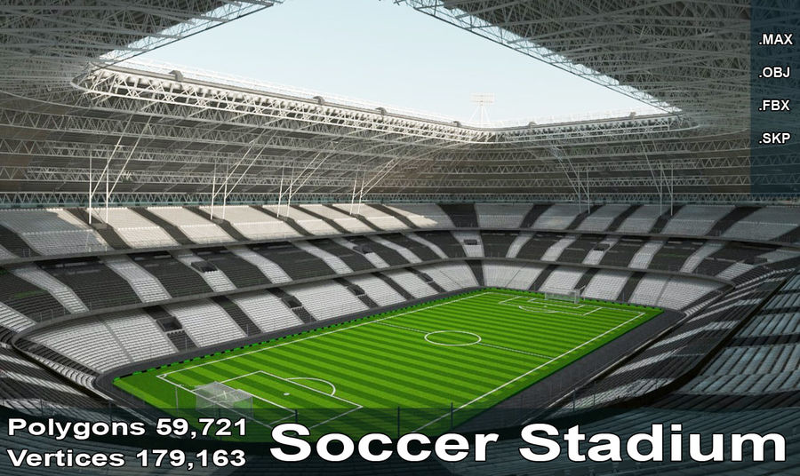 Soccer Stadium royalty-free 3d model - Preview no. 1
