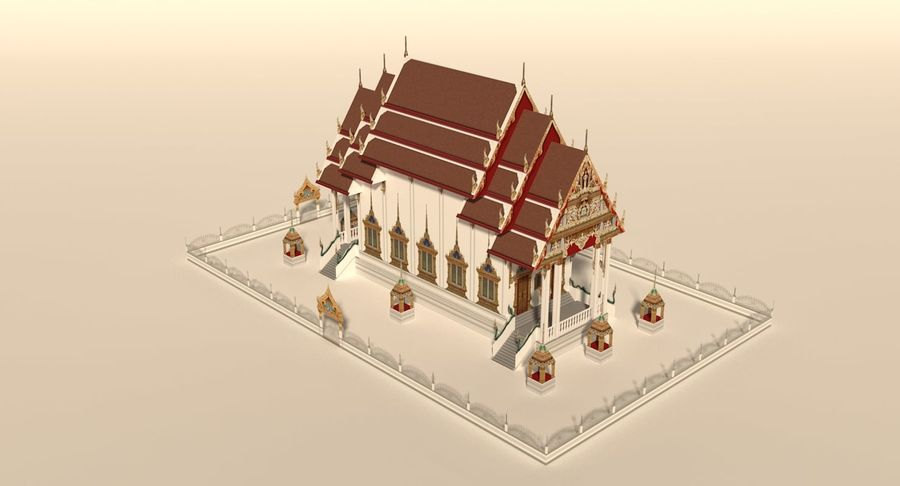Iglesia China - Low Poly royalty-free modelo 3d - Preview no. 6