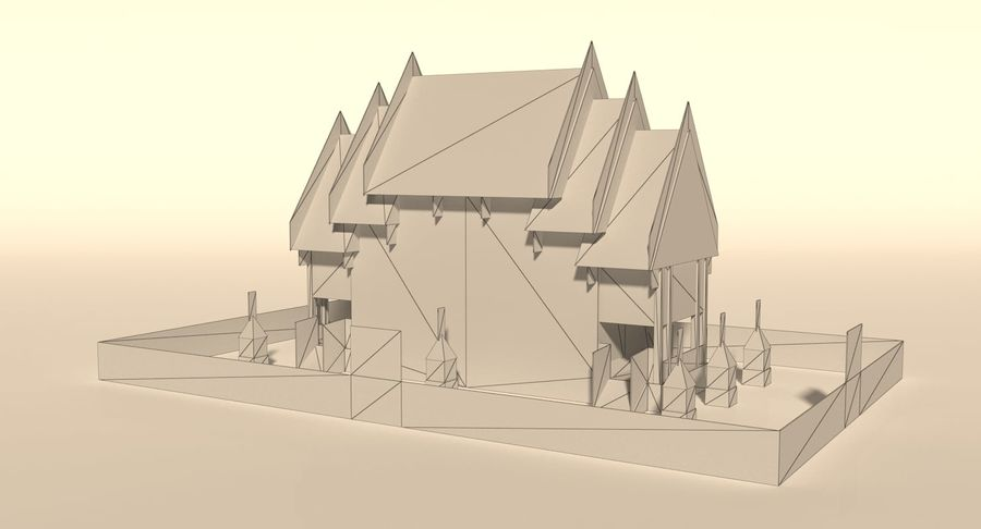 Iglesia China - Low Poly royalty-free modelo 3d - Preview no. 9