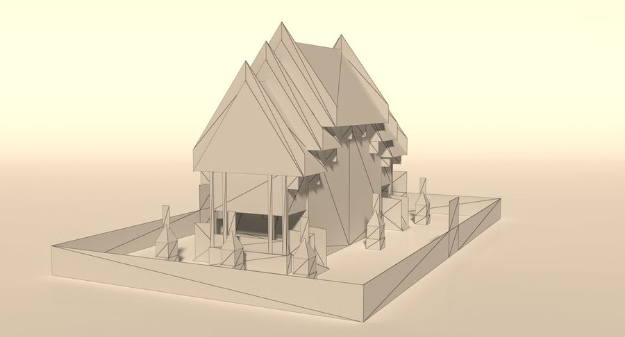 Iglesia China - Low Poly royalty-free modelo 3d - Preview no. 8
