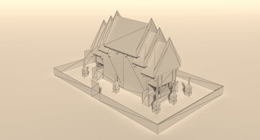 Iglesia China - Low Poly royalty-free modelo 3d - Preview no. 7