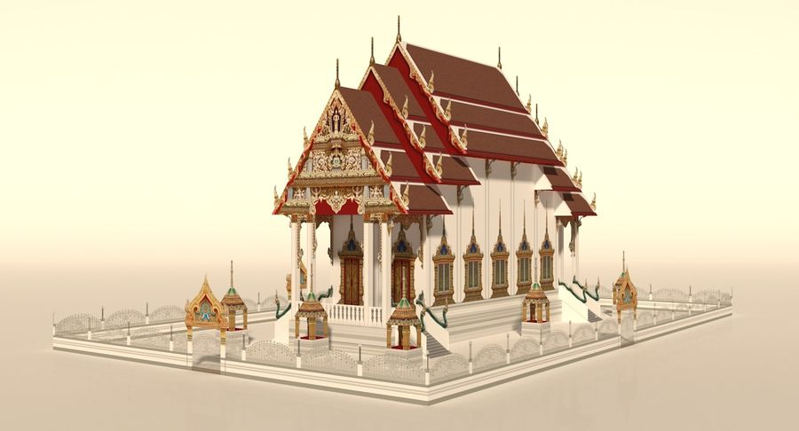 Iglesia China - Low Poly royalty-free modelo 3d - Preview no. 3