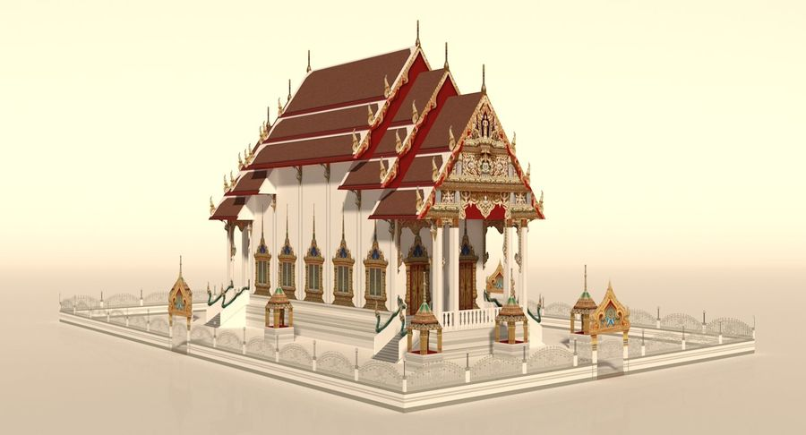 Iglesia China - Low Poly royalty-free modelo 3d - Preview no. 4