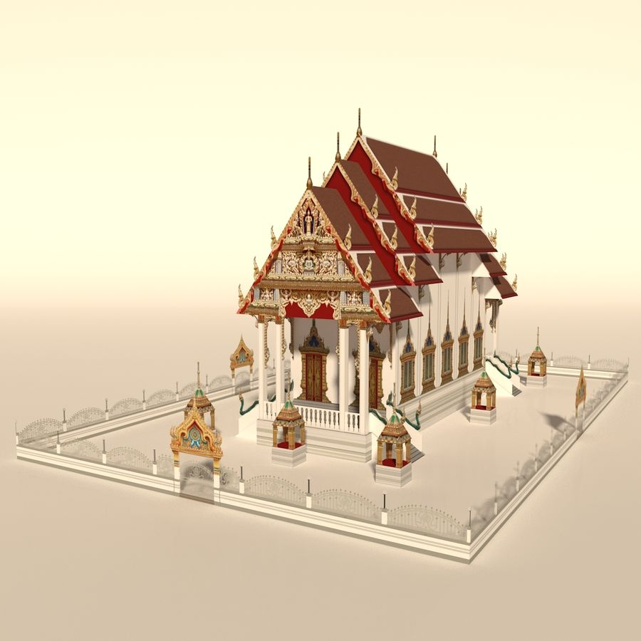 Iglesia China - Low Poly royalty-free modelo 3d - Preview no. 2